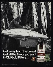 1971 OLD GOLD Cigarettes - 6 Wheel ATV Dune Buggy - Man Smoking & Dog VINTAGE AD