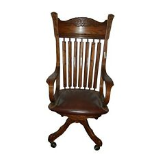 Large Oak Arrow Back Chair with Brown Leather 1900-1950 #1705