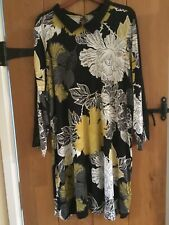 NEXT Size 20 Black Floral Long Sleeve Tunic Dress with collar