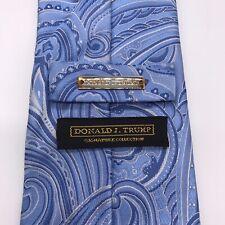 DONALD J. TRUMP Signature Collection Gold Bar 100% Silk Neck Tie Blue Paisley
