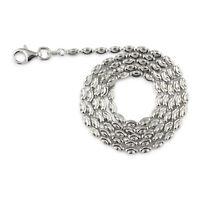 Geniune 925 Sterling Silver Rice Moon Diamond cut RH Gauge 002-2mm Chain  Italy