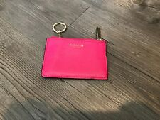 coach  saffiano pink I.D. case with key ring
