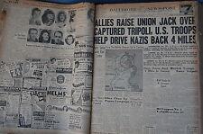 WW2 NEWSPAPER January 23 1943 Allies Raise union Jack Over Tripoli BNP 7