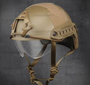 Hunting Tactical Helmet MH Helmet PJ Helmet with Telescopic Clear Lens Goggles