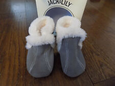 Jack & Lily My Mocs Baby sz 18 to 24 mo Infant Grey Fuzzy Boots Cute New w box