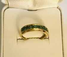 10K Yellow Gold 10 Round Emerald Green Gemstones Wedding Band Ring Size 7 Unisex