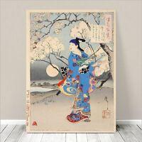 "Beautiful Japanese GEISHA Art ~ CANVAS PRINT 8x10"" Woman Blue Kimono"
