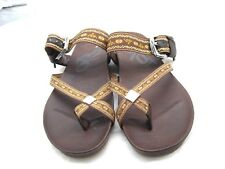 OTBT 10M 41 Cade brown green t-strap thongs womens ladies sandals shoes