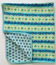 Vtg 90's Gymboree Baby Blanket Cotton Purple Yellow Aqua Blue Floral Reversible