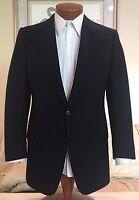 Brioni Mens Black Stripe Wool Cashmere Flannel 2 Btn Suit Sz 38 40 R Excellent!