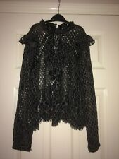 river island vintage lace black top with black under vest 11/12 yrs
