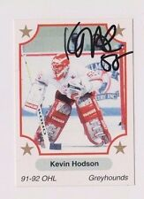 91/92 Kevin Hodson Soo Greyhounds Autographed OHL Hockey Card