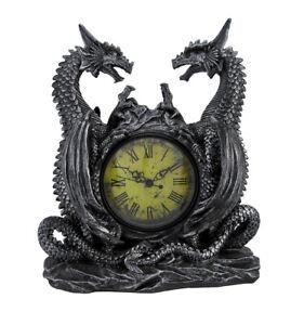 Zeckos Twin Evil Dragons Antiqued Mantel Clock Table Desk