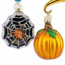 2 OWC Halloween Blown Glass Ornaments Pumpkin Spider Web Old World Christmas