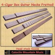 "4- ""Nice & Easy"" Cigar Box Guitar Fretted  Necks. for 3 or 4-string."