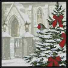 Church with Christmas Tree Counted Cross Stitch No. 27-109
