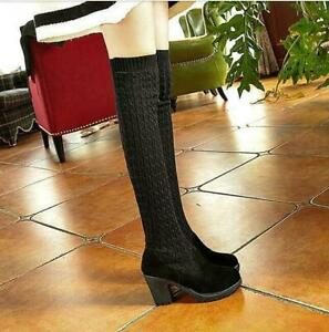 Chic Women's Round Toe Over Knee Boots Block Heel Knit Sock Shoes Pull On boots