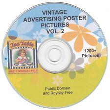 VINTAGE ADVERTISING POSTERS PICTURES - VOL. 2 - 1200+ public domain images on CD