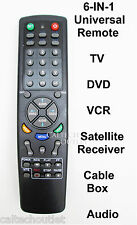 Universal Remote Controller 6 IN 1 TV DVD VCR Satellite Receiver Cable Box