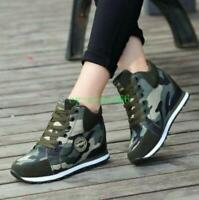 Womens High Top Hidden Wedge Heel Sneakers Boots Lace Up Camouflage Casual Shoes