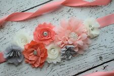Flower Sash, coral grey ivory Sash , flower Belt, maternity sash, wedding sash
