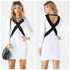 BEBE LOGO WHITE BLACK COLORBLOCKED LONG SLEEVE SWEATER DRESS NEW LARGE L