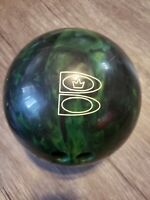 Vtg 14 lb Brunswick T Zone Bowling Ball Green Black Marble Swirl