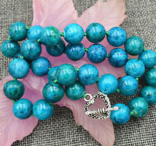 """12mm Azurite Chrysocolla Round Beads Necklace 18"""" Tibetan Silver Love Clasp"""