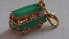 VW Bus Bulli Anhänger Einhänger Charms Karabiner vergoldet türkis grün Straß NEU