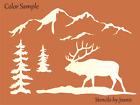 "Joanie 9""x12"" Elk Stencil Snowy Smokey Mountain Pine Trees Rustic Cabin DIY Sign"