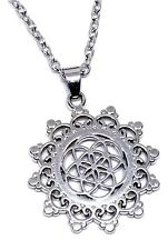 "Flower Of Life Pendant Kabbalah New Age Sacred Geometry 18"" Chain Necklace"