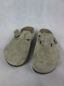 BIRKENSTOCK BOSTON SOFT SUEDE OPEN-BACK CLOGS TAUPE GERMANY SHOES MENS 17 NEW