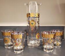 Culver Charm Bracelet Martini pitcher 4 cocktail glasses Jewels Excellent!