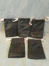MARY KAY Black Satin Drawstring Bags Lot of 5 Cosmetic Bags NEW