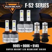 Auxbeam 9005 9006 LED Headlight+9145 H10 Fog for GMC Sierra 1500 2500 3500 03-06