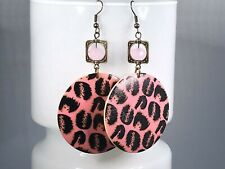 LEOPARD PRINT EARRINGS pink retro seventies gift for her funky crystal bicone