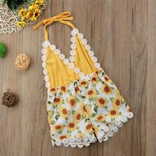 Baby Girls Clothing Sunflower Romper Sleeveless V Neck Halter Backless Jumpsuit