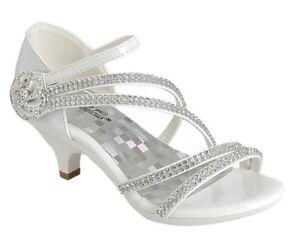 New women's shoes evening rhinestones med heel wedding prom formal jewel white