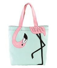 Sleepyville Critters Mint & Pink Flamingo Banding Tote  Bag   NWT