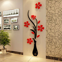 3D Vase Flower Tree Crystal Arcylic Art Decal Wall Sticker Home Room Decor DIY