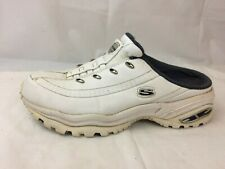 Skechers Premium 11021 Womens 7.5 Med White Leather Mules Sneakers Slip On Shoes