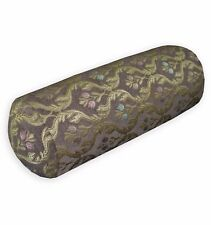 We403g Brown Damask Flower Check Throw Pillow Bolster Cover Yoga Neck Roll Case