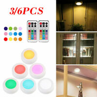 6× Under Cabinet Lights Dimmable RGB LED Kitchen Lights Closet Lighting Cupboard