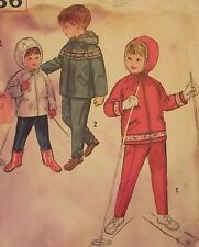 VTG 57 SIMPLICITY 4636 Toddlers Snowsuit~Hooded Jacket & Pants PATTERN 2/21B