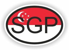 Singapore SGP COUNTRY CODE OVAL WITH FLAG STICKER bumper decal car laptop door