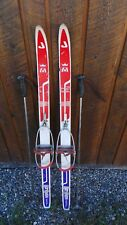 "Vintage Wooden Skis 45"" Long with RED WHITE BLUE Finish + Bamboo Poles"