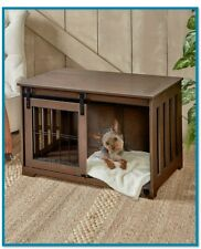 Pet Crate End Table Wooden Furniture Dog Kennel Cage Doghouse Country Decor MDF
