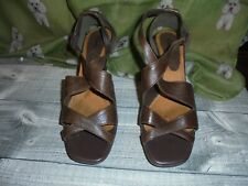 Clarks Wedge Leather Brown Sandals Size 7