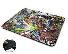 Graffiti Sticker bomb Premium Quality Flexible Rubber Mouse Mat / Mouse Pad