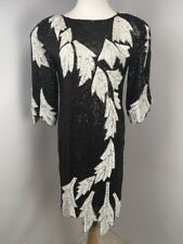 Champs Elysees Vintage Silk B/W Sequin Beaded Formal Evening Dress Prom Flapper